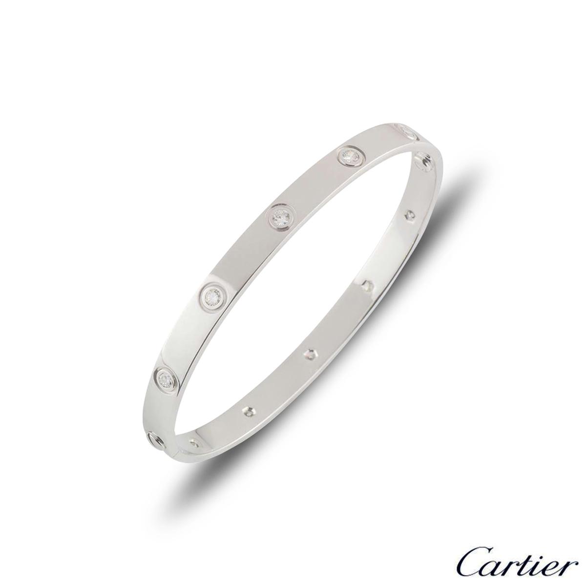 Cartier White Gold Full Diamond Love Bracelet Size 17 B6040717